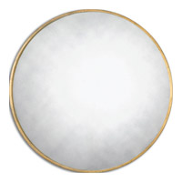 Junius Round 43 X 43 inch Antiqued Gold Leaf Mirror Home Decor