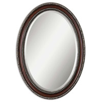 Uttermost Montrose Oval Mirror in Distressed Dark Mahogany Wood Tone 14196