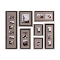 Uttermost Massena Photo Collage Set of 7 Metal Wall Art in Lightly Antiqued Silver Leaf 14458
