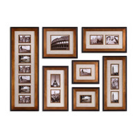 Uttermost Newark Photo Collage Set of 7 Metal Wall Art in Heavily Antiqued Gold 14459