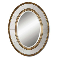 Uttermost Lara Oval Mirror in Lightly Antiqued Silver Leaf 14511-B