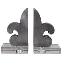 Lily 5 inch Lacquered Iron and Crystal Bookends, Set of 2