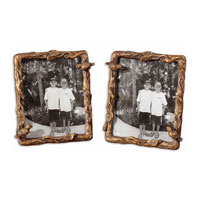 Uttermost Paza Photo Frames Set of 2 Home Accessory in Distressed Antiqued Gold Leaf 18500