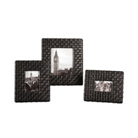 Uttermost Maulana Photo Frames Set of 3 Home Accessory in Weathered Dark Coffee Stain And A Light Tan Glaze 18524