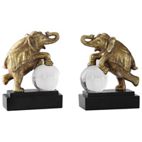 Circus Act 7 inch Antique Metallic Gold and Aged Black Bookends, Set of 2