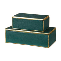 Uttermost 18723 Karis 12 inch Emerald Green Decorative Box, Grace Feyock