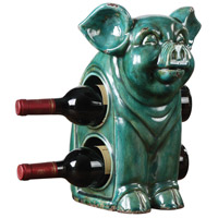 Oink Jade Green Crackle Wine Holder