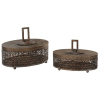 Agnese 14 inch Antiqued Gold with Light Gray Boxes, Set of 2