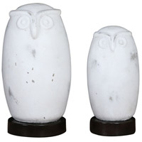 Hoot Distressed Aged White and Bronze Figurines