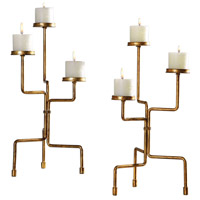 Kavin Iron and Antiqued Metallic Gold Leaf Candleholders