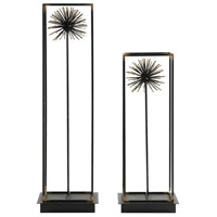 Flowering Dandelions Aged Black and Gold Sculptures