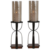 Arka Gilded Dark Bronze and Antiqued Natural Mango Wood Candleholders