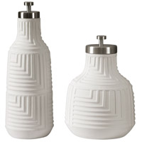Uttermost 18929 Chandran Matte White and Brushed Nickel Containers, Set of 2