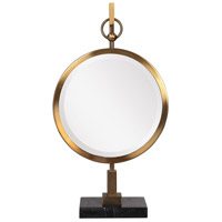 Uttermost 18999 Nori Brushed Bronze and Black Marble Tabletop Mirror