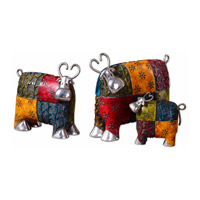 Colorful Cows Multiple Tones Of Green Red Blue And Orange Figurines