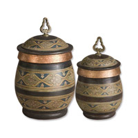 Uttermost Cena Canisters Set of 2 Home Accessory in Distressed Chestnut 19134