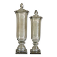 Uttermost Gilli Containers Set of 2 Home Accessory in Transparent Pale Green Glass 19148