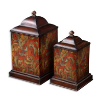 Uttermost Colorful Flowers Canisters Set of 2 Home Accessory in Distressed Mocha Brown 19166
