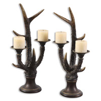Uttermost Stag Horn Candleholder Set of 2 Home Accessory in Burnished Bone Ivory 19204