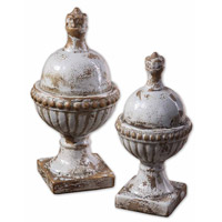 Uttermost Sini Finials Set of 2 Home Accessory in Heavily Distressed Powder Blue 19231
