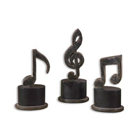 Uttermost Music Notes Set of 3 Home Accessory in Aged Black 19280