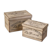 Uttermost Chocolaterie Boxes Set of 2 Home Accessory in Distressed Aged Ivory 19300