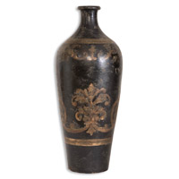 Uttermost Mela Tall Vase Home Accessory in Terracotta Hand Painted In Aged Black And Gold 19317