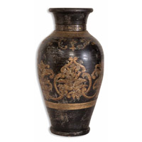 Uttermost Mela Vase Home Accessory in Terracotta Hand Painted In Aged Black And Gold 19318