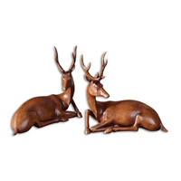 Uttermost Buck Statues Set of 2 Home Accessory in Light Wood Tone 19344
