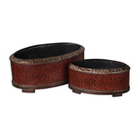 Uttermost 19377 Patala Heavily Crackled Deep Red Planters thumb