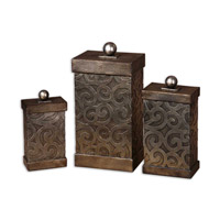 Uttermost Nera Boxes Set of 3 Home Accessory in Antiqued Silver Leaf 19418