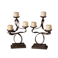 Uttermost Loop-D-Loop Candleholders Set of 2 Home Accessory in Antiqued Silver Leaf 19421