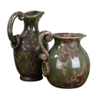 Uttermost Hani Pitchers Set of 2 Home Accessory in Distressed Forest Green 19429