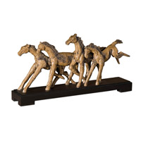 Uttermost Wild Horses Sculpture Home Accessory in Rustic Wood Grain Detailing On A Matte Black Base 19452