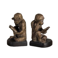 Uttermost 19474 Monkey Bookends 5 inch Umber Patina Bookends thumb