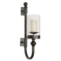 Uttermost Garvin Twist Sconce With Candle Home Accessory in Aged Black 19476