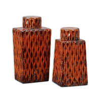 Uttermost Raisa Containers Set of 2 Home Accessory in Distressed Crackled Burnt Orange 19504