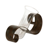 Uttermost Contemporary Curl Vase Home Accessory in Antiqued Mahogany Metal 19516