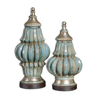 Uttermost FatimaUrns Set of 2 Home Accessory in Distressed Crackled Light Sky Blue Ceramic 19546