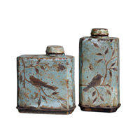 Uttermost Freya Containers Set of 2 Home Accessory in Distressed Crackled Light Sky Blue Ceramic 19547