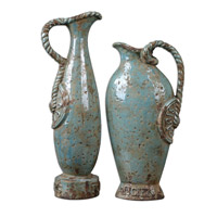 Uttermost Freya Vases Set of 2 Home Accessory in Distressed Crackled Light Sky Blue Ceramic 19552