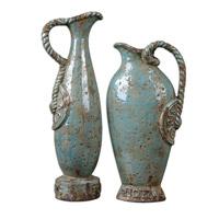 Uttermost Freya Vases Set of 2 Home Accessory in Distressed Crackled Light Sky Blue Ceramic 19552