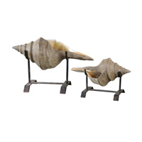 Uttermost Conch Shell Sculpture Set of 2 Home Accessory in Natural Looking Shell On Matte Black Metal Stands 19556