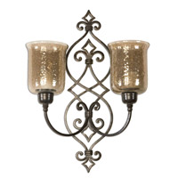 Uttermost Sorel Double Wall Sconce Home Accessory in Antiqued Bronze Metal 19564