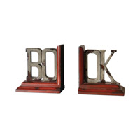 Uttermost Book Bookends Set of 2 Home Accessory in Heavily Distressed Burnt Red And Ash Gray 19589
