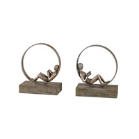 Uttermost Lounging Reader Set of 2 Bookends in Antiqued Silver Leaf 19596