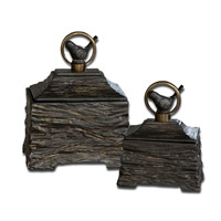 Uttermost Birdie Set of 2 Boxes in Antiqued Bronze 19601