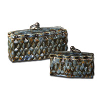Uttermost Neelab Set of 2 Home Accessories in Distressed Pale Blue 19618