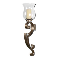 Loran 4 inch Heavily Antiqued Silver Champagne Wall Sconce Wall Light