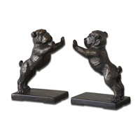 Bulldogs 5 inch Heavily Distressed Golden Bronze Bookends